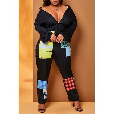 Lovely Casual Patchwork Black Plus Size One-piece Jumpsuit