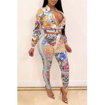Lovely Party Zipper Design Multicolor Two-piece Pants Set