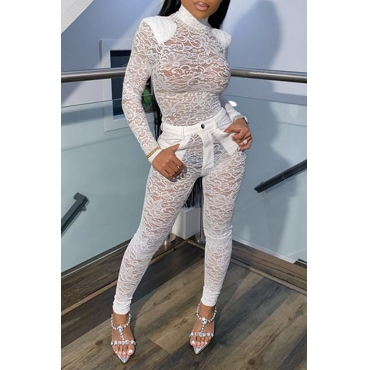 Lovely Sexy Turtleneck See-through White Two-piece Pants Set