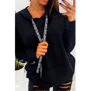 Lovely Casual Hooded Collar Letter Printed Black Hoodies