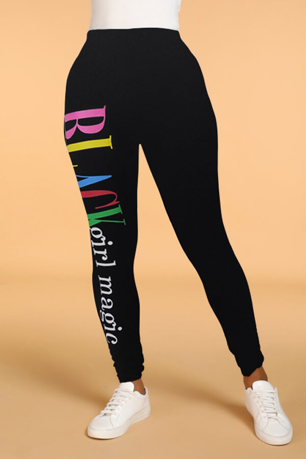 Lovely Polyester Casual Letter Skinny Mid Leggings
