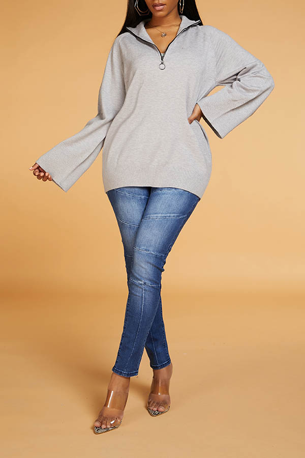 Lovely Leisure Turndown Collar Zipper Grey Sweater