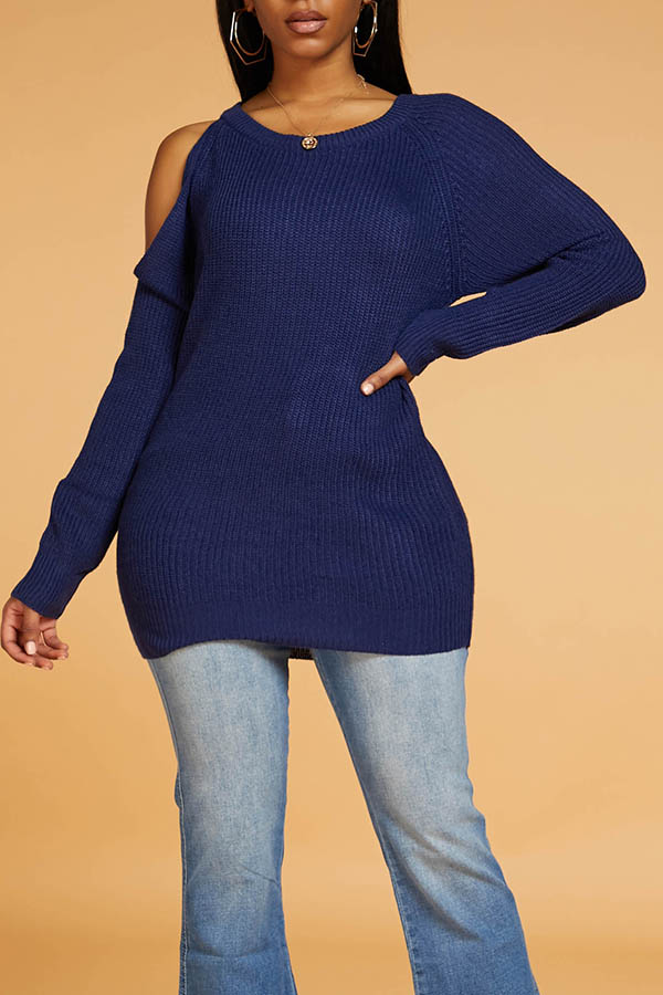 Lovely Chic Dew Shoulder Blue Sweater