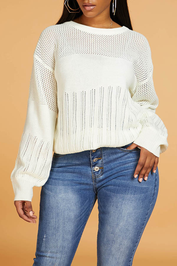 Lovely Chic Patchwork White Sweater