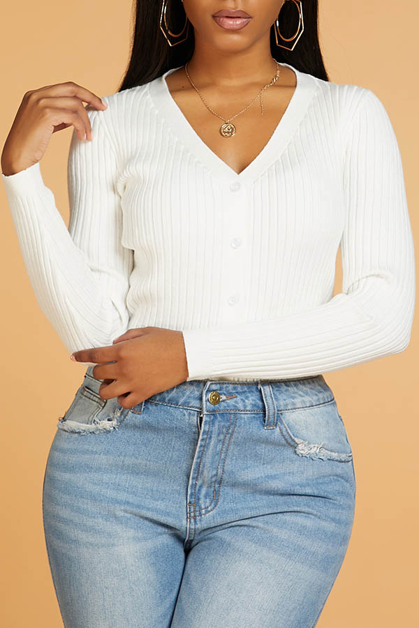 Lovely Casual V Neck Button White Cardigan