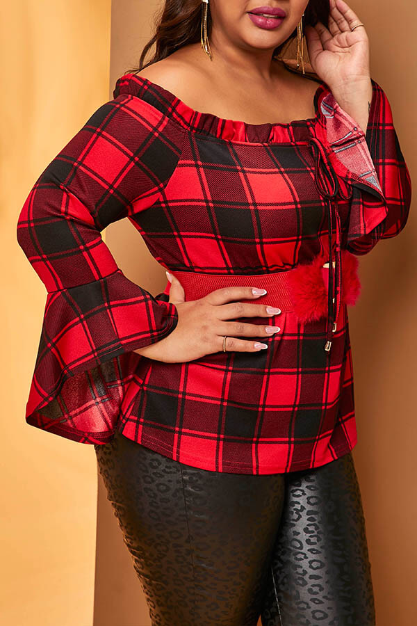 Lovely Casual Plaid Print Red Plus Size Blouse