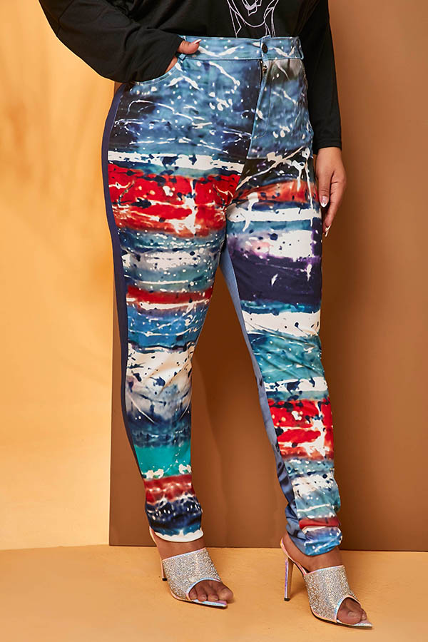 Lovely Trendy Printed Blue  Plus Size  Pants