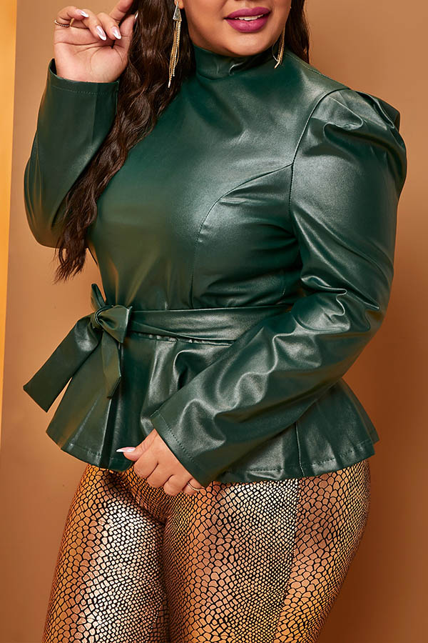 Lovely Trendy Mandarin Collar Lace-up Deep Green  Plus Size Blouse
