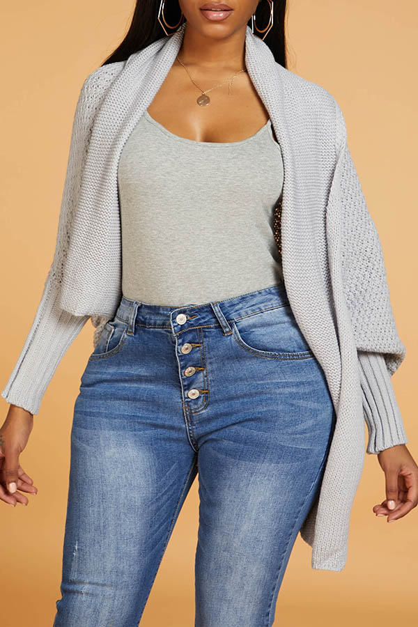 Lovely Chic Loose Grey Cardigan