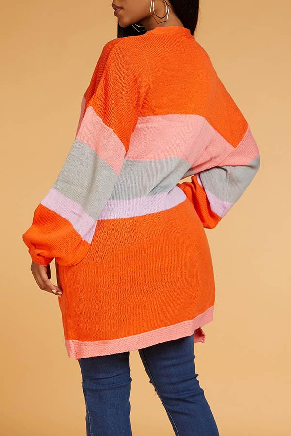 Lovely Casual Color-lump Orange Cardigan