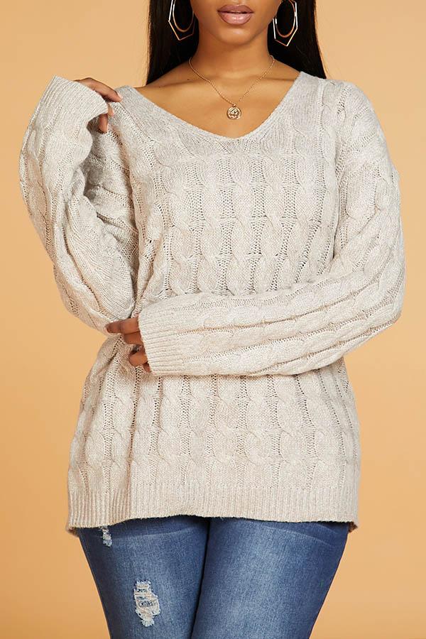 Lovely Leisure Basic Light Tan Sweater