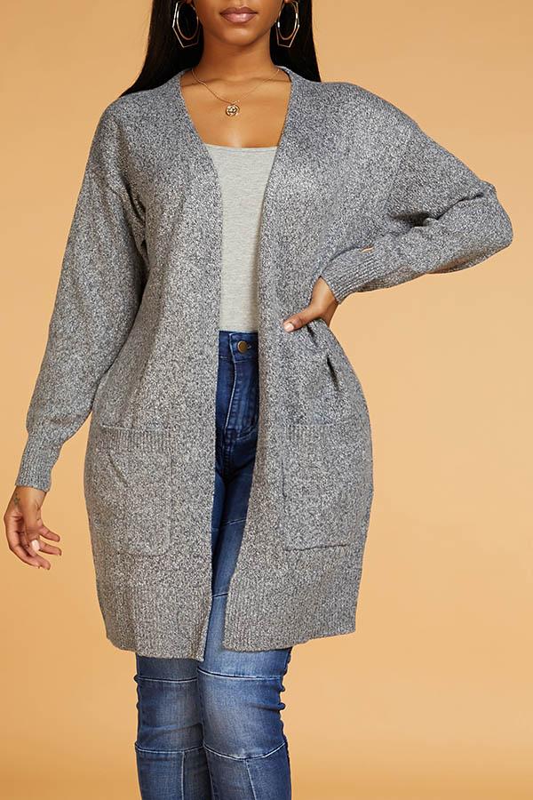 Lovely Chic Basic Grey Cardigan