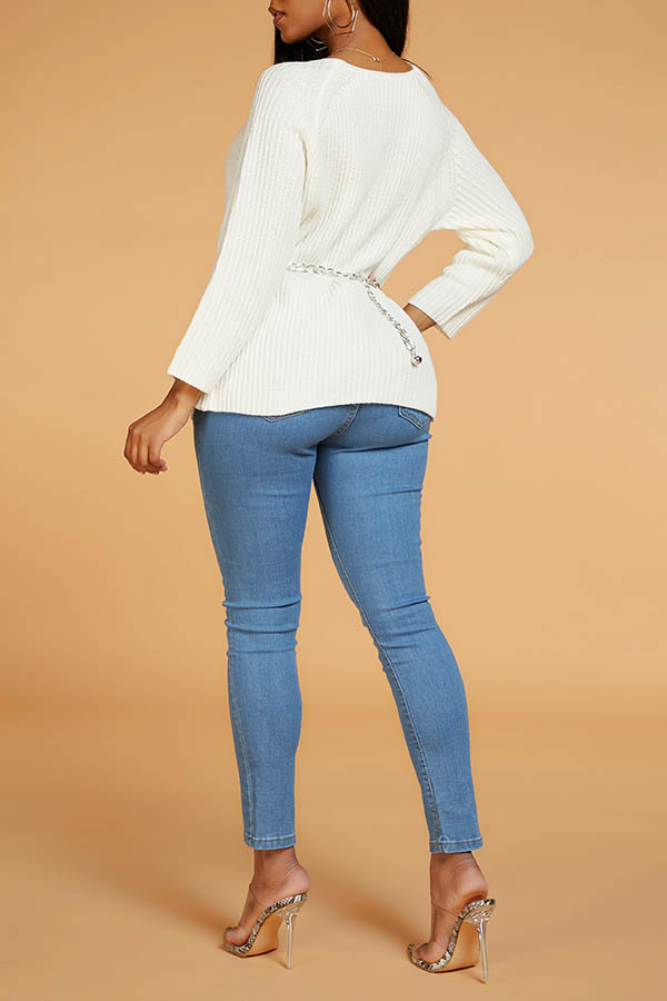 Lovely Leisure Basic White Sweater