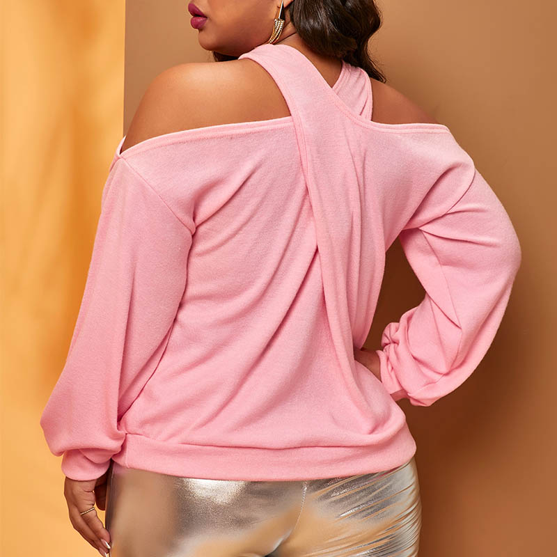 Lovely Casual Cross-over Design Pink Plus Size Sweater
