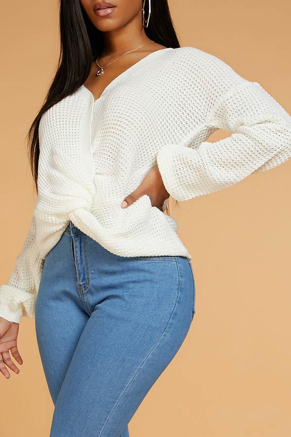 Lovely Casual O Neck Cross-over Design White Sweater