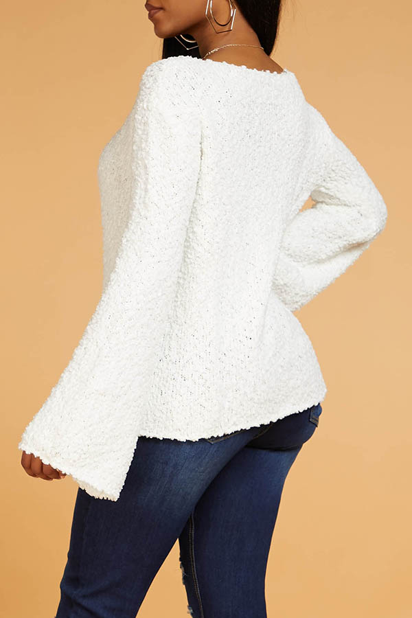 Lovely Sweet Hollow-out White Sweater