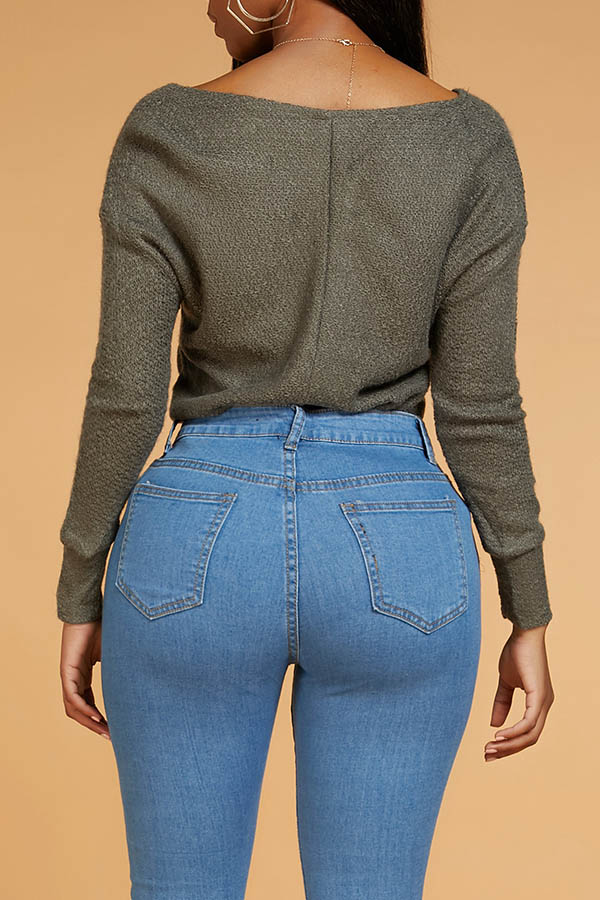 Lovely Casual V Neck Hollow-out Grey Sweater