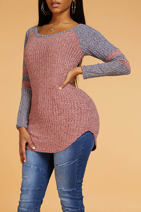 Lovely Leisure O Neck Patchwork Red Sweater
