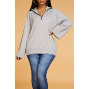Lovely Leisure Turndown Collar Zipper Grey Sweater