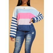 Lovely Chic Color-lump Patchwork Multicolor Sweate