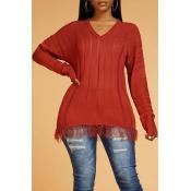 Lovely Chic Tassel Design Brown Sweater