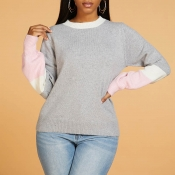 Lovely Casual Patchwork Grey Sweater