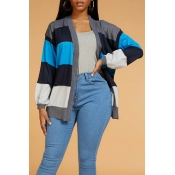 Lovely Casual Striped Blue Cardigan