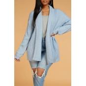 Lovely Casual Basic Blue  Cardigan