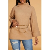 Lovely Casual Turtleneck Khaki Sweater