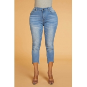 Lovely Chic Irregular Hems Baby Blue  Jeans