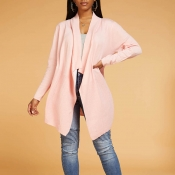 Lovely Casual Loose Light Pink Cardigan