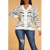 Lovely Casual Zebra Stripe Cardigan