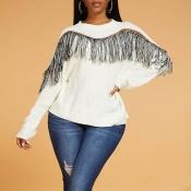 Lovely Casual Tassel White Sweater