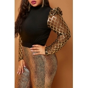 Lovely Casual Turtleneck Patchwork Gold Plus Size