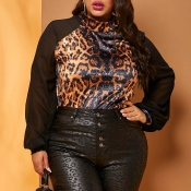 Lovely Casual Patchwork Print Brown Plus Size Blou