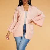 Lovely Casual Patchwork Light Pink Cardigan