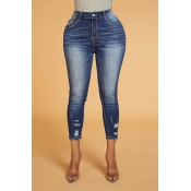 Lovely Trendy Zipper Design Blue Jeans