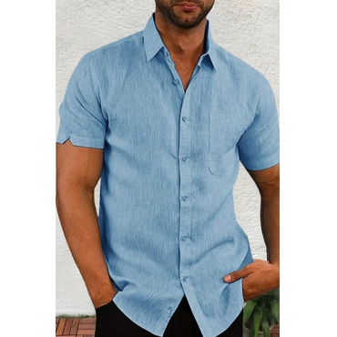Lovely Casual Turndown Collar Short Sleeve Basic Blue Shirt