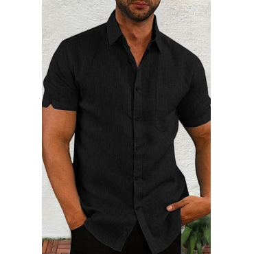Lovely Casual Turndown Collar Short Sleeve Basic Black  Shirt