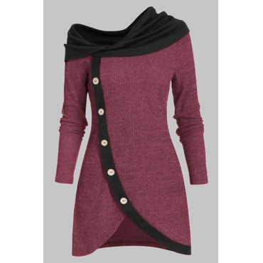 Lovely Casual Patchwork Wine Red Knee Length Plus Size Dress