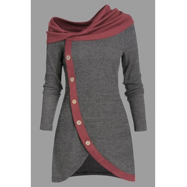 Lovely Casual Patchwork Grey Knee Length Plus Size Dress