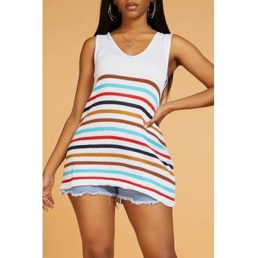 Lovely Chic V Neck Sleeveless Striped White Sweater