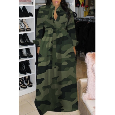 Lovely Casual Turndown Collar Camouflage Printed Green Floor Length Dress