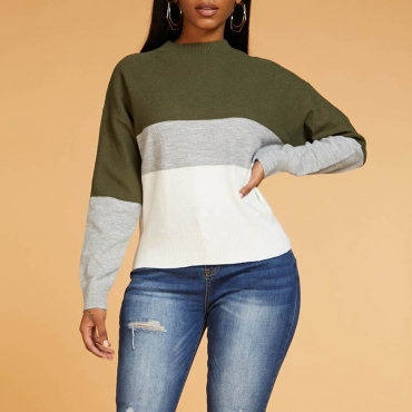 Lovely Chic Color-lump Patchwork Green Sweater