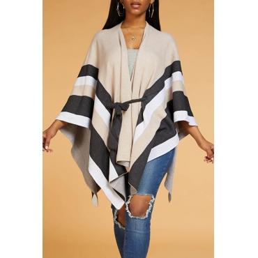 Lovely Casual Striped Khaki Cardigan