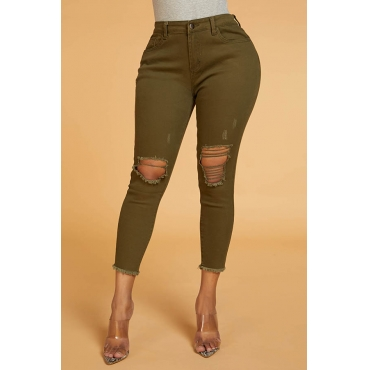 Lovely Chic Hollow-out Army Green Jeans