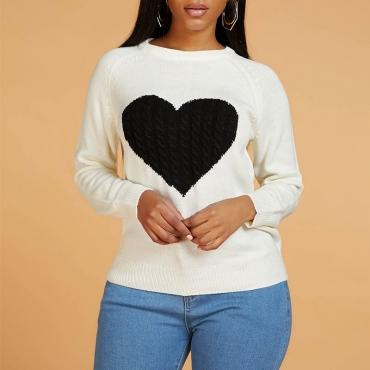 Lovely Casual Heart Beige Sweater