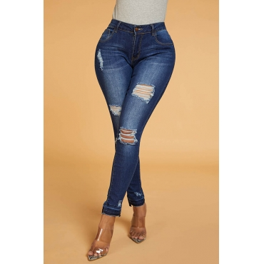 Lovely Chic Broken Hole Blue Jeans
