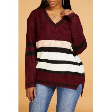 Lovely Casual V Neck Striped Print Wine Red Sweater