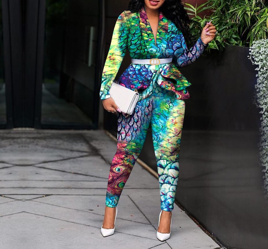 Lovely Sexy Turn-back Collar Print Green Two-piece Pants Set